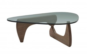 natura coffee table walnut base glass top